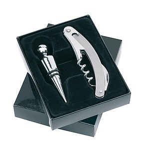 "2 piece wine bottle opener set ""Duet"",colour silver, black"