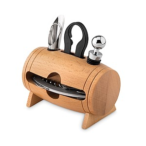 4 pcs wine set in wooden stan