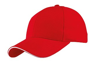 "6 panel sandwich cap ""Liberty"" heavy brushed,colour red"