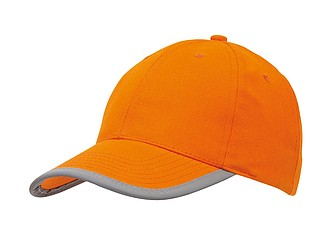 "6 panel cap ""Detection"" with reflector band on the peak,colour orange"