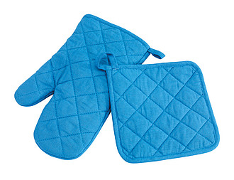 Oven glove set, blue