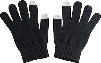 Acrylic gloves with touch tops on two fingers, black