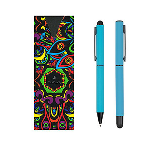 PC CELEBRATION SET Ballpoint pen and Roller, light blue