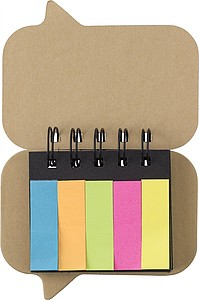 Paper, wire bound sticky note booklet with 5 colours of small sticky notes