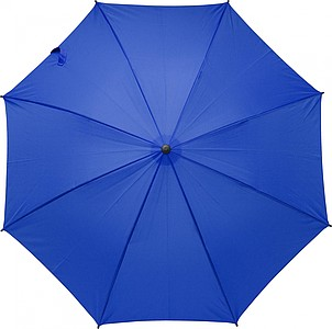 Pongee (190T) umbrella with eight panels. Metal and fibreglass frame and foam handle.