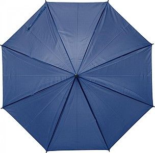 Polyester (170T) automatic umbrella with eight panels. Metal frame and plastic handle.