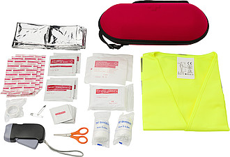 Car emergency first aid kit. Red