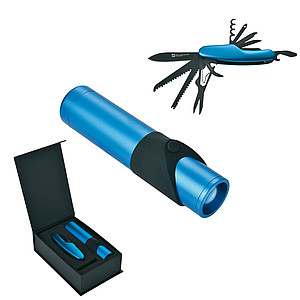 SCHWARZWOLF ALBERO Set of multifunctional tool and 1 W LED light, blue