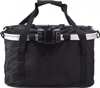 Polyester (600D) bicycle bag, attaches to the handlebar with metal ring and Velcro.