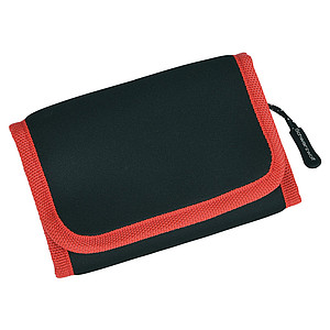 SCHWARZWOLF COIN BLACK neoprene wallet, red