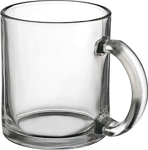 Coffee mug made of glass, transparent