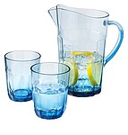 Jug with 2 glasses, transparent blue,white
