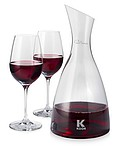 Prestige decanter with 2 wine glasses, transparent clear