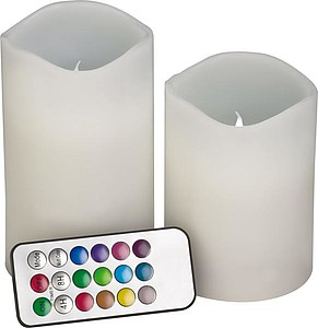 2pc set colour changing candles, white