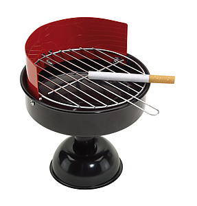 "Ashtray ""BBQ"",colour red, black"
