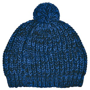 SCHWARZWOLF MALASPIN Knitted hat with pompom and fleece lining, blue