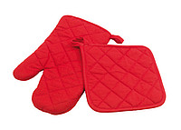 "Oven glove set ""Secure"", 2 pieces: consists of oven glove and oven mitts,colour red"