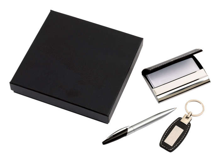 3 Piece Gift Set Ballpoint Pen Business Card Holder And A Key Ring